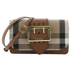 Burberry Madison Buckle Flap Bag House Check Canvas and Leather Small