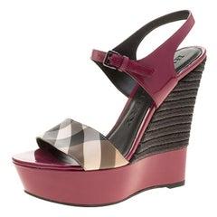 Burberry Magenta Patent Leather and Canvas Espadrille Platform Wedge Sandals Siz