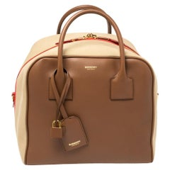 Burberry Malt Brown Leather and Canvas Medium Bowling Bag