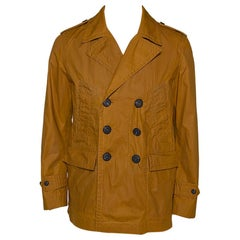 Burberry Malt Coated Cotton Folgate Double Breasted Coat L