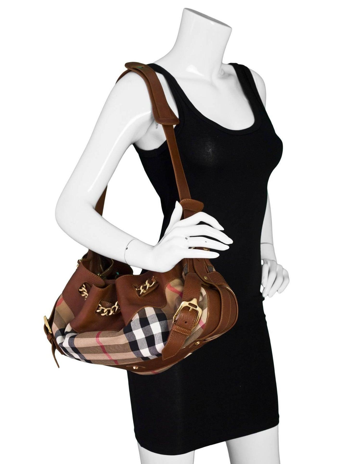 6658668e153e Burberry Margaret Nova Check Canvas and Tan Leather Bag For Sale at 1stdibs