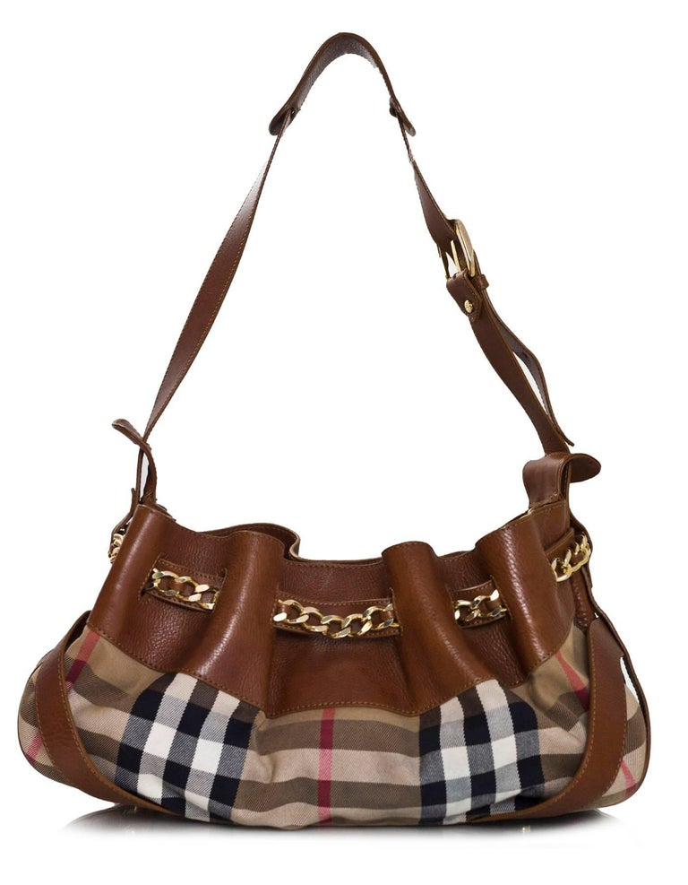 Brown Burberry Margaret Nova Check Canvas   Tan Leather Bag For Sale 88ae6fae22df9