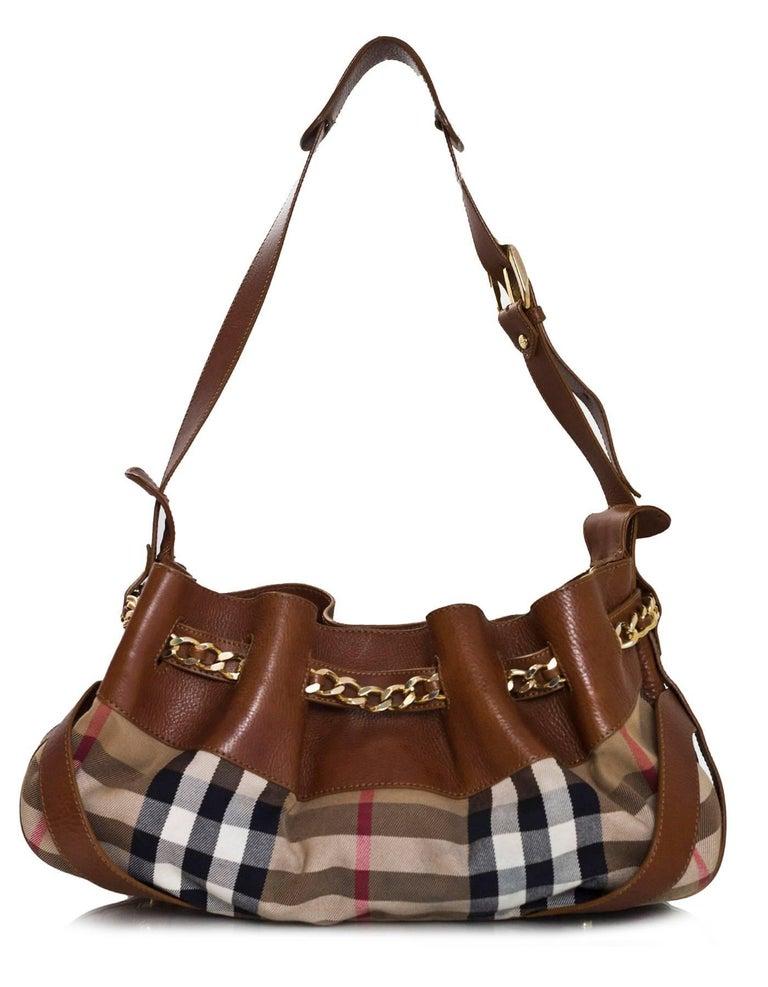 56c6f251972 Brown Burberry Margaret Nova Check Canvas   Tan Leather Bag For Sale