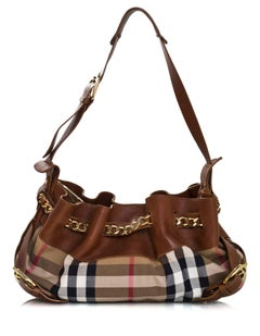 Burberry Margaret Nova Check Canvas & Tan Leather Bag