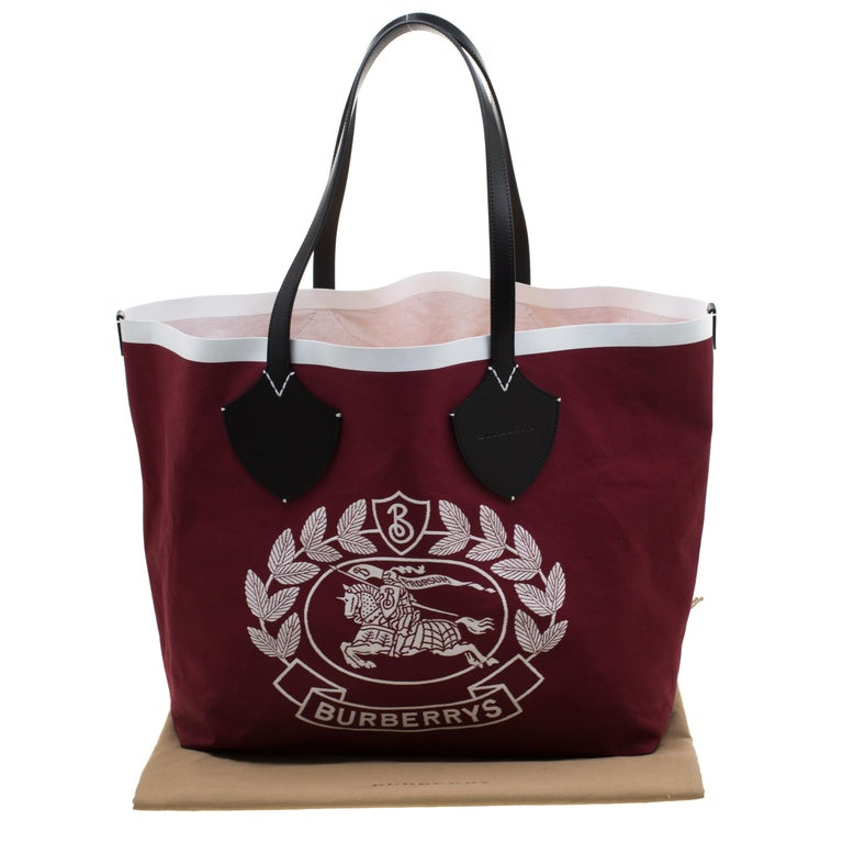 Burberry Maroon/Black Archive Logo Canvas And Leather Giant Tote 8