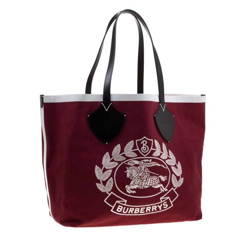 Women's Burberry Maroon/Black Archive Logo Canvas And Leather Giant Tote