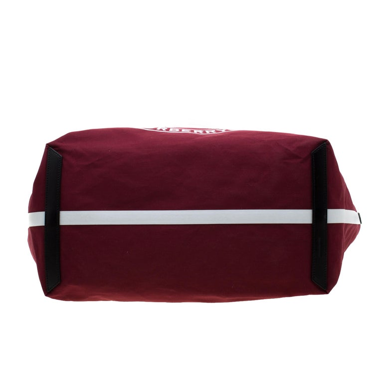 Burberry Maroon/Black Archive Logo Canvas And Leather Giant Tote 1