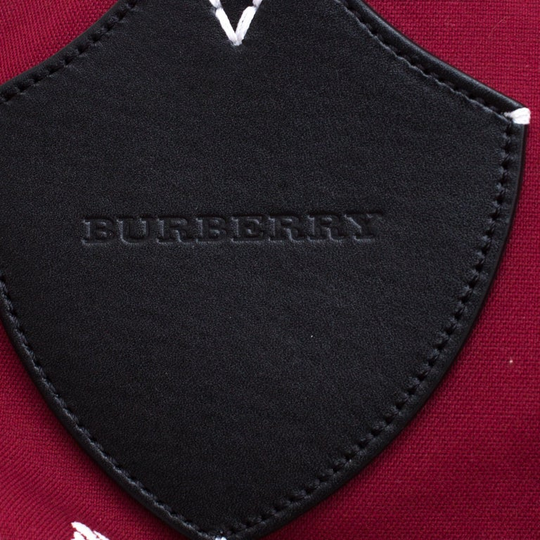 Burberry Maroon/Black Archive Logo Canvas And Leather Giant Tote 3