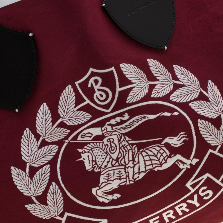 Burberry Maroon/Black Archive Logo Canvas And Leather Giant Tote 5