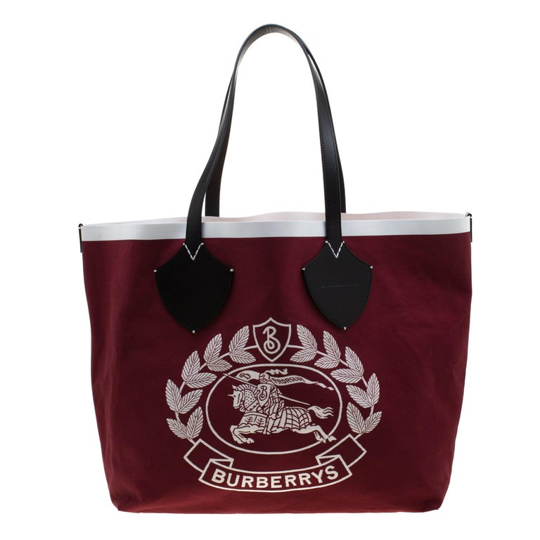Burberry Maroon/Black Archive Logo Canvas And Leather Giant Tote