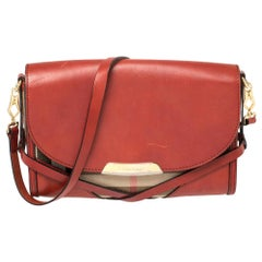 Burberry Maroon House Check Canvas and Leather Abbott Shoulder Bag