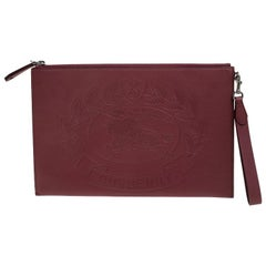 Burberry Maroon Leather Document Wristlet Pouch