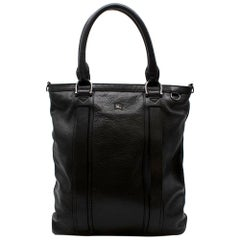 Burberry Mens Black Leather Tote Bag