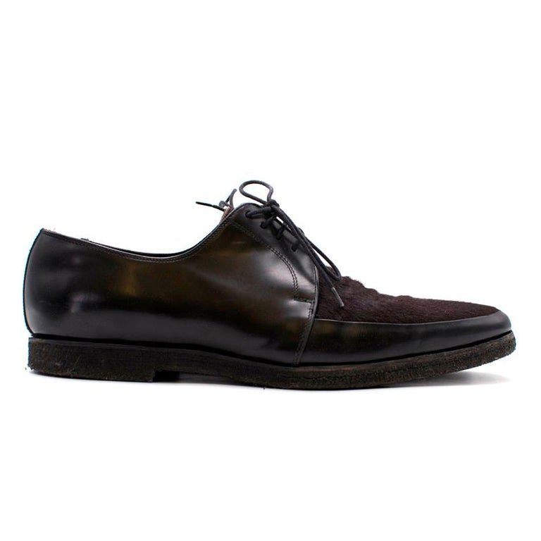 Burberry Leather & Calf-Hair Shoes  - Lace up - Burgundy calf hair - Black leather  - Textured ribber midsole - Tonal stitching - Pointed round toe  Approx Length: 32cm Width: 11cm