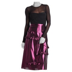 Burberry Merse Silk Blend Metallic Midi Skirt XL 16