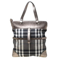 Burberry Metallic Beige Beat Check Canvas and Leather Tote