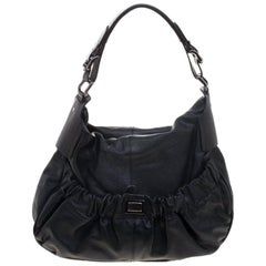 Burberry Metallic Black Leather Warrior Hobo