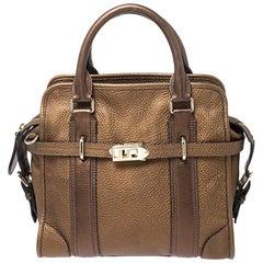 Burberry Metallic Brown Leather Top Handle Bag
