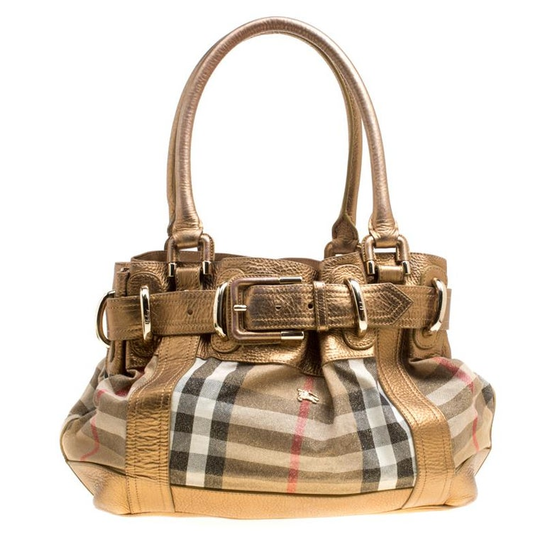 Burberry Metallic Gold Leather and House Check Fabric Bridle Tote For Sale 23daa0bac7