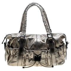 Burberry Metallic Gold Leather Curzon Shoulder Bag
