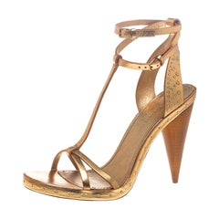 Burberry Metallic Gold Leather Hans T Strap Sandals Size 37.5