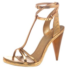 Burberry Metallic Gold Leather Hans T Strap Sandals Size 39