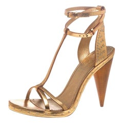 Burberry Metallic Gold Leather Hans T Strap Sandals Size 40
