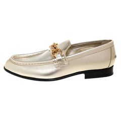 Burberry Metallic Gold Leather Solway Chain Detail Slip On Loafers Size 39.5