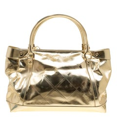 Burberry Metallic Gold Leather Tote