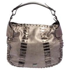 Burberry Metallic Leather Embellished Hobo
