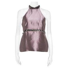 Burberry Metallic Purple Silk Blend Stud Embellished Halter Neck Top S
