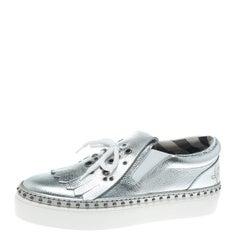 Burberry Metallic Silver Kiltie Fringe Detail Slip On Sneakers Size 40