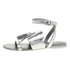 Burberry Metallic Silver Leather Bethany Tassel Detail Flat Sandals Size 38.5