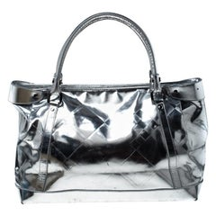 Burberry Metallic Silver Patent Leather Shopper Tote
