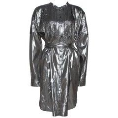 Burberry Metallic Silver Silk Lamé Belted Shirt Dress L