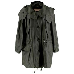 Burberry Military Green Wool-Blend Drawstring Coat M