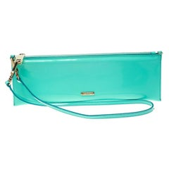 Burberry Mint Green Patent Leather Parmoor Clutch