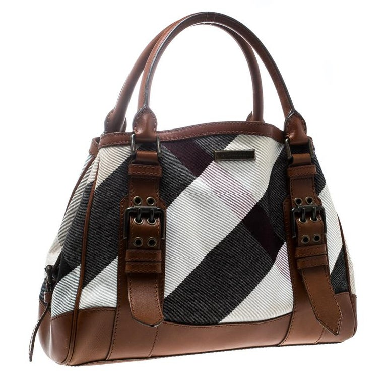 35db7b3ef96c Black Burberry Multicolor Brown Canvas and Leather Mega Check Tote For Sale