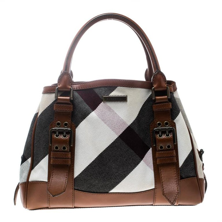 08a869a8c6cb Burberry Multicolor Brown Canvas and Leather Mega Check Tote For Sale