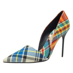 Burberry Multicolor Canvas Virirna D'orsay Pointed Toe Pumps Size 39.5