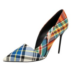 Burberry Multicolor Canvas Virna D'orsay Pointed Toe Pumps Size 39