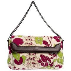 Burberry Multicolor Floral Print Canvas and Leather Flap Shoulder Bag