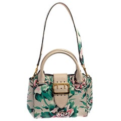 Burberry Multicolor Floral Print Grained Leather Small Buckle Tote