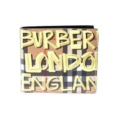 Burberry Multicolor Graffiti Print Check Leather Bifold Wallet
