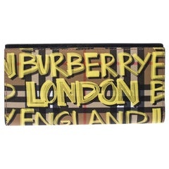 Burberry Multicolor Graffiti Print Vintage Check Coated CanvasBifold Long Wallet