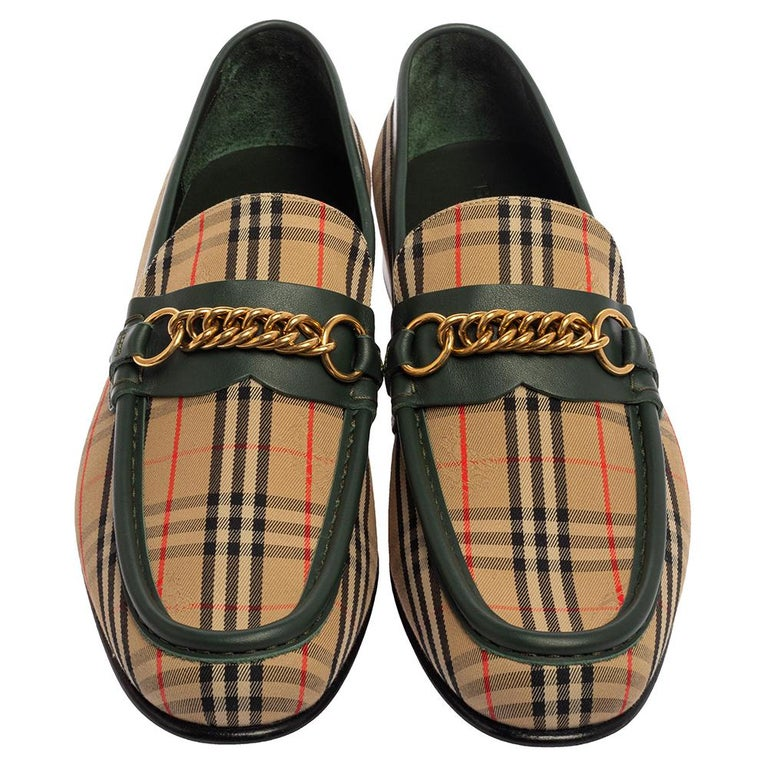 Black Burberry Multicolor Nova Check Canvas And Leather Moorley Runway Loafers Size 44