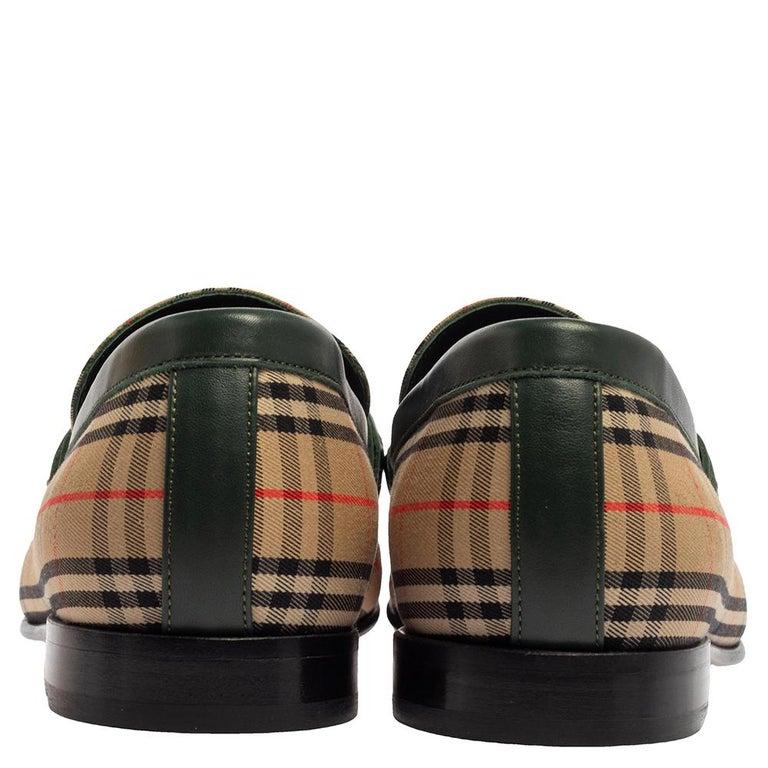 Burberry Multicolor Nova Check Canvas And Leather Moorley Runway Loafers Size 44 In New Condition In Dubai, Al Qouz 2
