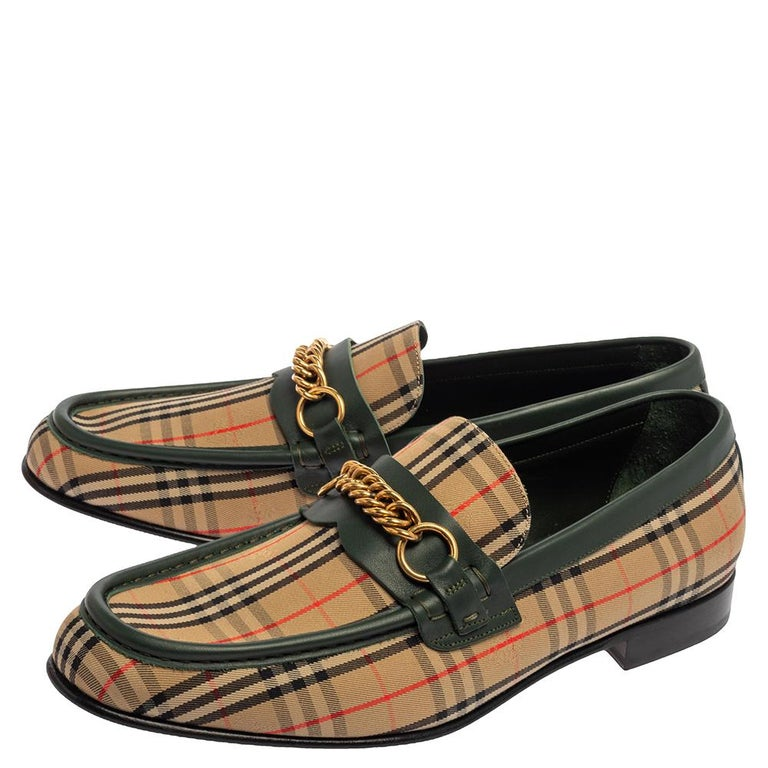 Men's Burberry Multicolor Nova Check Canvas And Leather Moorley Runway Loafers Size 44