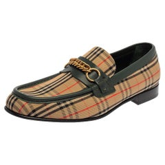 Burberry Multicolor Nova Check Canvas And Leather Moorley Runway Loafers Size 44