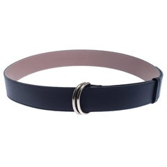 Burberry Navy Blue/Beige Leather D'Ring Buckle Belt 120CM